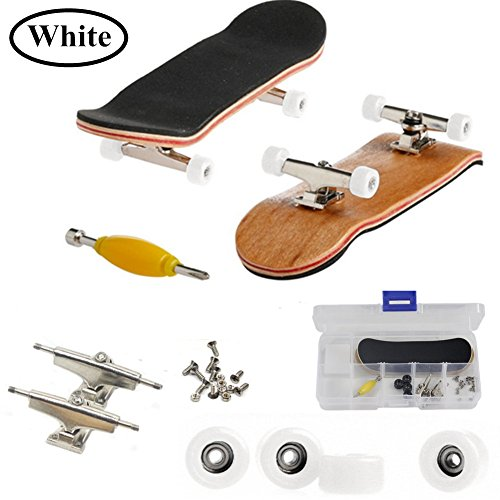 AumoToo Mini Fingerboard, Professional Finger Skateboard Maple Wood DIY Assembly Skate Boarding Toy Sports Games Kids (White)