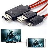 Aussel 2M 6.5 pies de alta velocidad Micro USB 5 PIN a HDMI ~ Adaptador Cable de extensión / cable de carga / cable de datos para teléfonos Android [Nota: El teléfono debe soportar ~ Función]