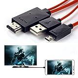 Aussel 2M 6.5 pies de alta velocidad Micro USB 5 PIN a HDMI ~ Adaptador Cable de extensión / cable...