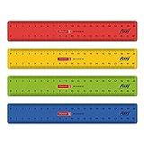 Brunnen 104987120 Flexi-Lineal für Schule und Büro 20 cm, unzerbrechlich, 4 verschiedene Farben, für Links- und Rechthänder)