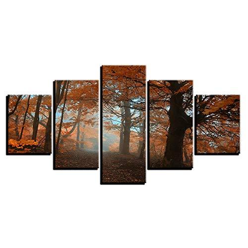 XCHWLH Leinwandbild - 5 Teile - 200X100Cm / 78.8X39.4 Kunstwerk Poster Modular Leinwandbild 5 Teile Ahorn Wald Natur Landschaftsmalerei Hd Modern Edition Gemälde Wand Art Deco Raum -
