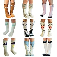 JT-Amigo Unisex Baby Kids Knee High Socks Stockings Pack of 9