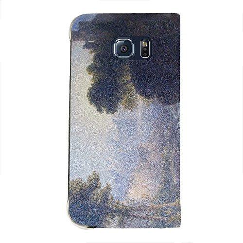Thomas Doughty - Fanciful Landscape, Portafoglio Mesh Flip Custodia Protectiva in PU Pelle Wallet Case Cover Shell Nero con Design Colorato per Samsung Galaxy S6 Edge G9200.