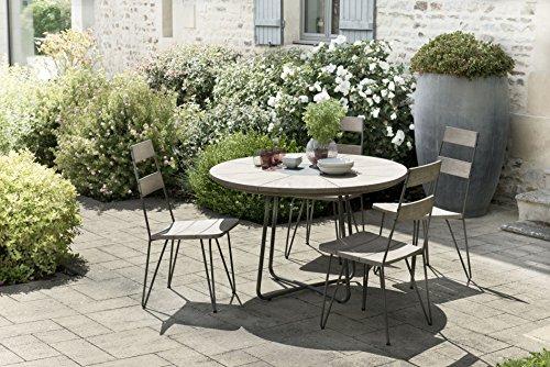 MACABANE 509015 Salon de Jardin Couleur Gris en Teck et Pierre andésite Dimension 120cm X 120cm X 77cm