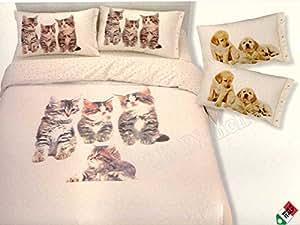 R.P. Dolce Notte Gattini Couvre-lit en piqué de coton pour lit 1 place Impression chatons