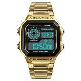 SKMEI Digital White Dial Men's Watch-1335 Gold