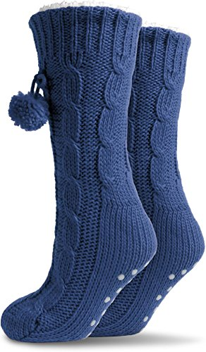 Damen Kuschel-Hausschuhe mit ABS in versch. Farben - Super flauschige Damenhausschuhe - Qualität von normani® Marine