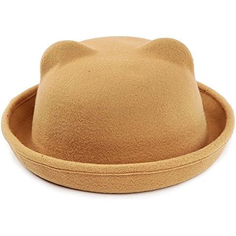 TININNA Vintage Mujer Sombrero,Lindo Otoño invierno Hongo Cap Kitty sombrero orejas de gato de fieltro de lana Para Niños Niñas-Tostado claro