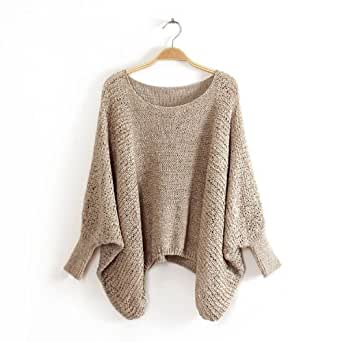 Pull Sweater unicolore Ample Col rond large Manches style Chauve-souris WF-5040