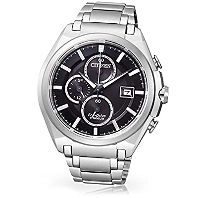 Citizen Super Titanium CA0350-51E - Reloj cronógrafo de cuarzo para hombre, correa de titanio color plateado de Citizen