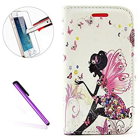 Galaxy S4 Mini Wallet Case,NEWSTARS[Butterfly Fairy][Flower]Inlaid Shiny Glitter Diamond Pu