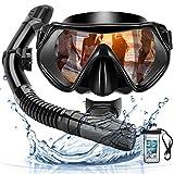 Arkmiido Maschera Subacquea,Snorkeling Combo Set,Maschera da Snorkeling,Maschera Che sigillasse Bene,Anti-Nebbia Antiperdita Design,Kit Snorkeling Professionale per Adulti (Nero)