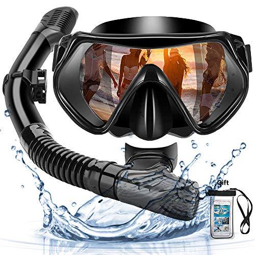 FLYTON Maschera Subacquea Maschera da Snorkeling 180/° Vista Panoramica Anti-Appannamento Anti Fuoriuscita con Cinghie Regolabili per Adulti e Bambini