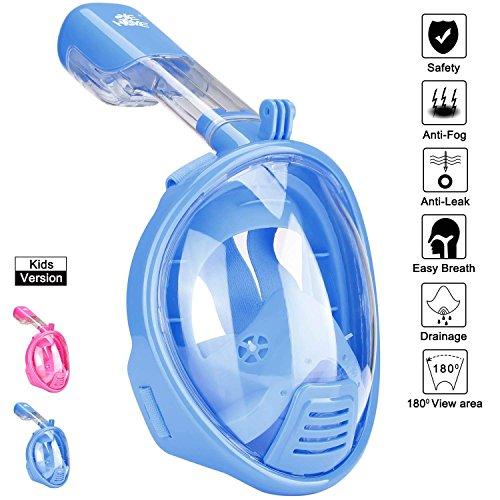 iNextStation Tuba Masque Vue complète à 180° Full Face pour Adultes Enfants, Bleu, XS (Suitable for Kids)