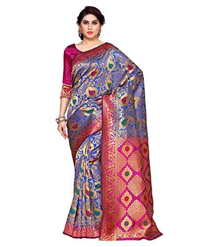 Mimosa By Kupinda Women\'s Art Silk Saree Kanchipuram Style (Latest Designer Sarees /Party wear sarees /New collection sarees) (4147-R1-2D-RBLU-RNI) Color: Blue