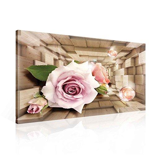 Blumen Blasen Rosen Rosa Leinwand Bilder (PP2356O1FW) - Wallsticker Warehouse - Size O1 - 100cm x 75cm - 230g/m2 Canvas - 1 Piece - Rosen Rosa Bild