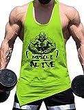 Alivebody Bodybuilding Palestra Canotte per Uomo 100% Cotone Fitness a Spalle Scoperte e Smussato Orlare Senza Maniche Gilet