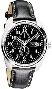 D&G Bariloche Men's Quartz Watch DW0639 With Black Multi Function Dial, Stainless Steel Case And Black Leather Strap