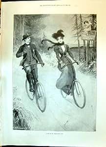 Impression Antique de Madame 1900 de Saint-Valentin de St Man Cycling Susan Ann Eleanor...
