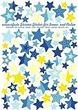 Jabalou Sterne Fahrraudaufkleber Fahrradsticker für Kinder Sticker Aufkleber (Blau-Gelb)