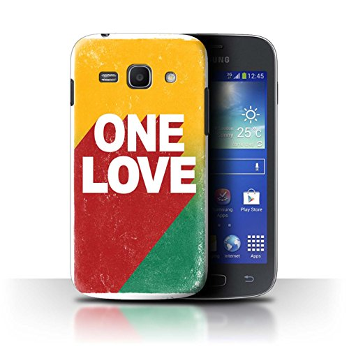 Stuff4 Custodia/Cover/Caso/Cassa Rigide/Prottetiva Stampata con Il Disegno Arte Rasta Reggae per Samsung Galaxy Ace 3/S7270 - One Love Manifesto