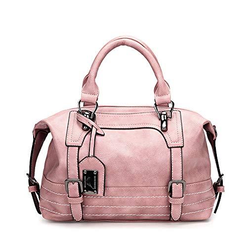 AlwaySky Damen Handtasche, weiche Umhängetasche aus PU-Leder, Vintage Totes Satchel Schulter Boston Tasche für die Arbeit einkaufen (Pink) - Leder Side Pocket Hobo