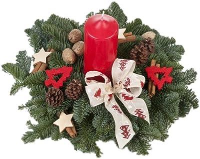 Echtes Weihnachtsgesteck Tannenzauber, aus echtem Tannengrün, mit roter Kerze und 18 Deko-Teilen von Amazon.de Pflanzenservice auf Du und dein Garten
