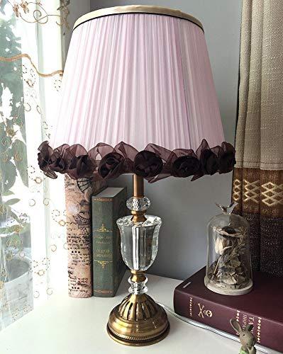 Tischleuchte Nachttischlampe Schreibtischleuchte Lampe Rosa Lampenschirm-Blumen-gestreifte Kristalltischlampe Tischlampe,für Schlafzimmer Wohnzimmer - Hoch Gestreifte Kabel