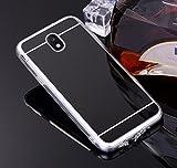 Silikon Spiegel Hülle für Galaxy J5 2017 SM-J530F,Mirror Effect Soft Case für Galaxy J5 2017 SM-J530F,Leeook Neu Mode Cool Luxus Elegant Schwarz Schlank Slim TPU Handy Gehäuse Hülle Ultradünnen Weiche Soft TPU Telefon-Kasten Handyhülle Mirror Spiegelnd Make Up Protective Case Cover Bumper für Samsung Galaxy J5 2017 SM-J530F + 1 x Schwarze Eingabestift-Black