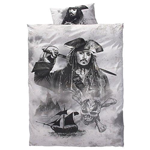 Disney Pirates of the Carribean Fluch der Karibik SALAZARS RACHE 2017 JACK SPARROW & the black PEARL Linon-Wende-Bettwäsche Garnitur 135x200 80x80 Baumwolle
