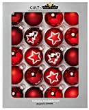 KREBS & SOHN - Set di 20 Palle di Vetro per Albero di Natale, da Appendere, assortimento di Palline per Albero di Natale, Rosso Bordeaux