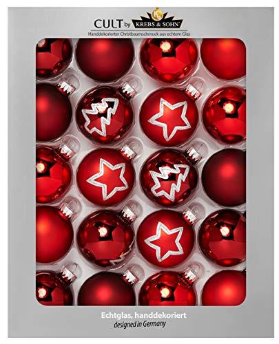 Heitmann deco krebs & sohn set di 20 palline di natale in vetro - albero di natale deco appeso - palle di natale 5,7 cm - rosso stelle