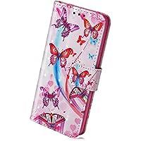 Handyhülle für Samsung Galaxy A8 Plus 2018 Handytaschen Luxus Glitzer Muster Ledertasche Brieftasche Klapphülle Bookstyle Flip Case Handy Schutzhülle mit Magnetverschluss,Schön Schmetterling