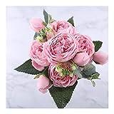 YUANYUAN520 Getrocknete Blumen 30 cm Rose Rosa Seide Pfingstrose Künstliche Blumen Bouquet 5 Big Head Und 4 Bud Günstige Kunstblumen for Zuhause Hochzeitsdekoration Indoor (Color : Pink)