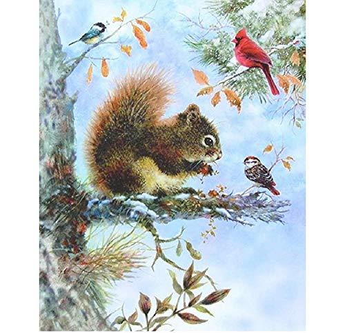 ahlen Kinder Kleines Eichhörnchen Und Vogel Auf Dem Baum DIY Handgemaltes Ölgemälde,60x75cm ()