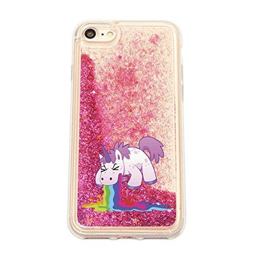finoo | iPhone 6 / 6S Flüssige Liquid Pinke Glitzer Bling Bling Handy-Hülle | Rundum Silikon Schutz-hülle + Muster | Weicher TPU Bumper Case Cover | Einhorn Katze Einhorn kotzt