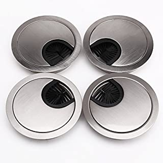 AKORD 4 x 60mm Table Grommet Cable Tidies Caps Desk Surface Port Hole Covers (Brushed Chrome)