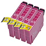King of Flash Brand New 4 Magenta Compatible Printer Ink Cartridges For Epson T1813 - Epson XP-30, 102, 202, 305, 405, 205, 302, 415, 415, 412, 315, 312, 215, 212, 405WH Printers