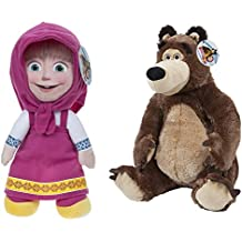 Masha e Orso (Masha and the Bear) - Pack 2 peluches Masha (seduta 16cm/in piedi 20cm) e Orso (seduto 18cm) - Qualità super soft