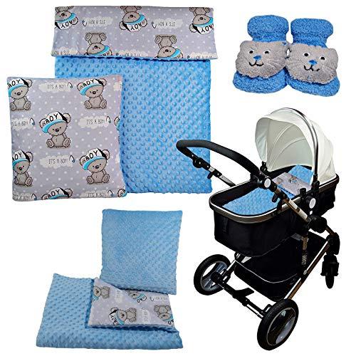 4-tlg.Minky Set Baby Kinderwagenset Bettwäsche für Kinderwagen Stubenwagen Wiege Garnitur Decke 75x50 Kissen 35x35 cm (ohne Kinderwagen) (Blau)