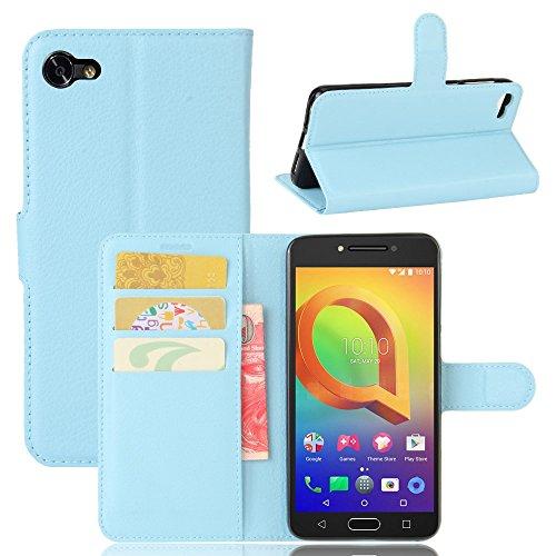 guran® custodia in pu pelle per alcatel a5 led smartphone avere portafoglio e funzione stent case flip cover caso copertura protettiva-blu