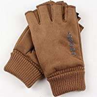 JMcall Men Fingerless Half Finger Mittens Riding Warm Gloves Out/Indoor Sports Agile(Color:Coffee & Material:Suede)
