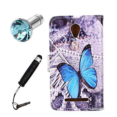 Lusee® PU Kunstleder Tasche für ZTE Blade A110 / Blade L110 kunstliche Ledertasche mit silikon Hülle blauer Schmetterling