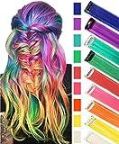 RYE Arco iris Postizos Multicolor Clip en extensiones de cabello para niñas Peluca para muñecas 9 PCS