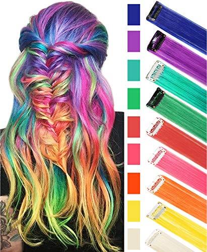 RYE Regenbogen Haarteile mehrfarbiger Clip in Haarverlängerungen für Mädchen Haarteile Perücke für Puppen 9 Stück