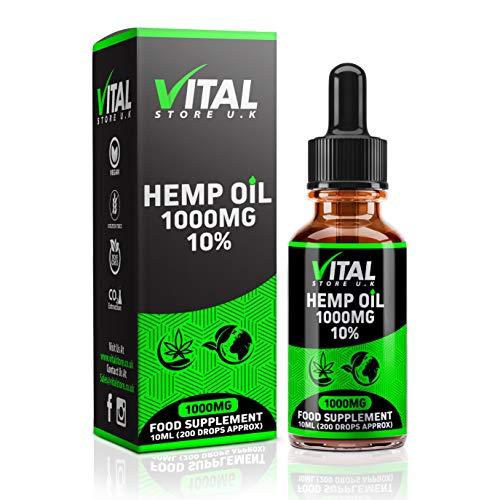 VITAL gotas de extracto de aceite de cáñamo 1000 mg 10% de alta resistencia | 10ml | Fabricante del Reino...