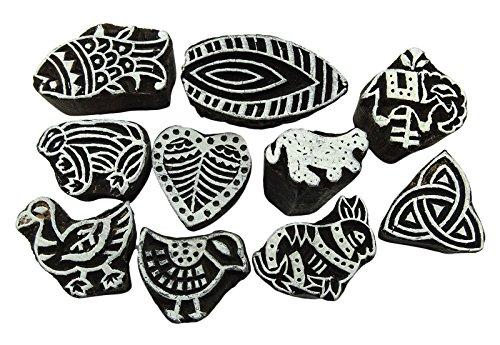 vintage-decorativo-intagliato-a-mano-stampa-tessuto-blocco-di-legno-timbri-lotto-di-10-pezzi-black