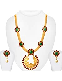 Spargz Stylish Multicolor Brass Metal Designer Necklace Set For Women
