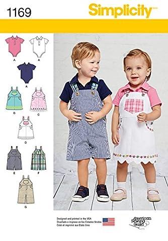 Simplicity 1169Größe A Babys Overalls/Jumper und Body Schnittmuster,