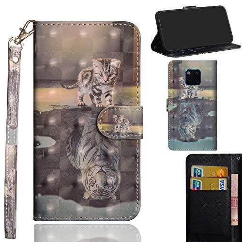 Ooboom Huawei Mate 20 Pro Hülle 3D Flip PU Leder Schutzhülle Handy Tasche Case Cover Ständer mit Kartenfach Trageschlaufe für Huawei Mate 20 Pro - Katze Tiger